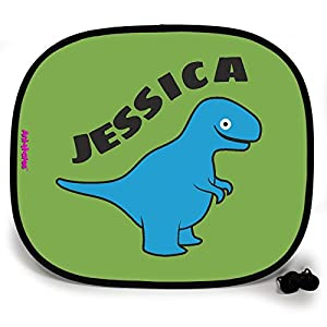 123t ANI-MATES DINO T-REX PERSONALISED Baby/Child Vehicle Sunshade x 2