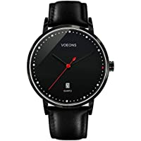 Voeons Genuine Leather Strap Analog Quartz Casual Men's Watches (Black)