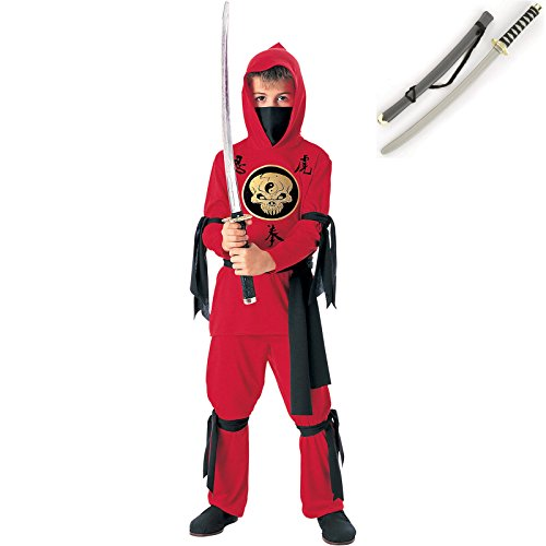 Kid's Red Ninja Premium Costume with Toy Sword - Small