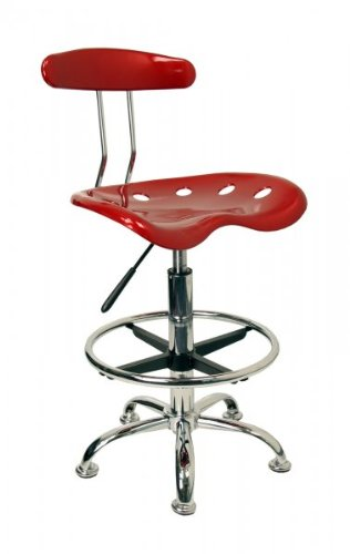 Vibrant Wine Red and Chrome Bar Stool Height Drafting Stool with Tractor Seat [LF-215-WINERED-GG]