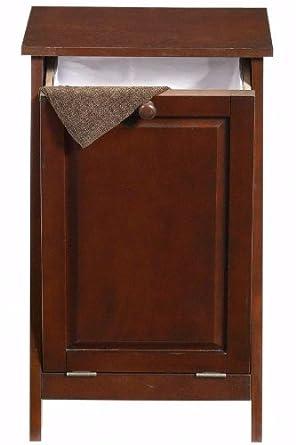 mission style tilt out laundry hamper wastebin 17 w chestnut home improvement. Black Bedroom Furniture Sets. Home Design Ideas