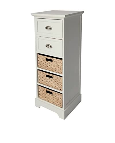 Gallerie Décor Newport 2-Drawer & 3-Basket Table, Cream