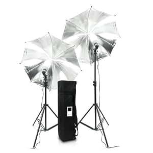 eSmart Germany Fotostudio Reflexschirm Silber | Schwarz Doubleset Kazuki + 2 x 50W (400W) Schnellstart-ESL