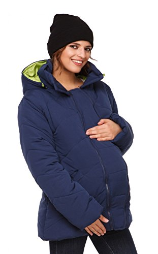 Happy Mama. Womens Maternity Padded Jacket Hood Carrier Removable Insert. 075p (Navy, US 12, 2XL)