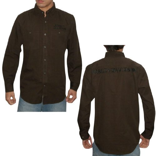 Mens Harley Davidson Motorcycles Long Sleeve Button Down Racing Shirt   Coffee (Size S)