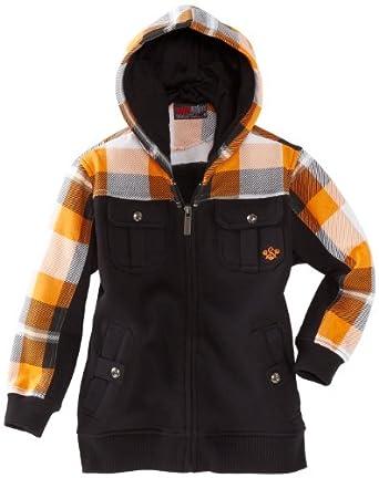 Southpole - Kids Little Boys' Hooded Full Zip Plaid Accent Sweatshirt, Sun Orange, Medium