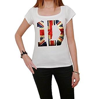 1D One Direction Union Jack Flag T-shirt Femme imprimé célébrité - Blanc, XS