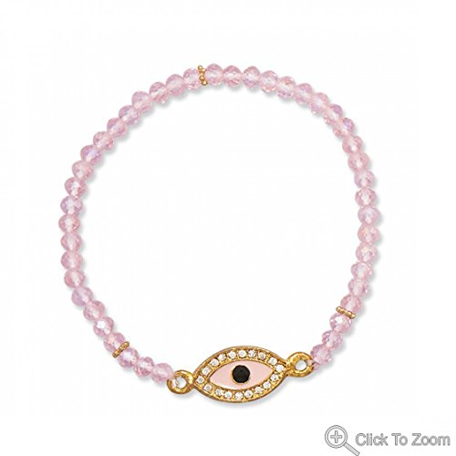 Pink Glass Evil Eye Fashion Stretch Bracelet