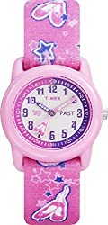"Timex Kids' T7B151 ""Time Teacher"" Plastic Watch with Pink Ballerina-Print Canvas Strap"