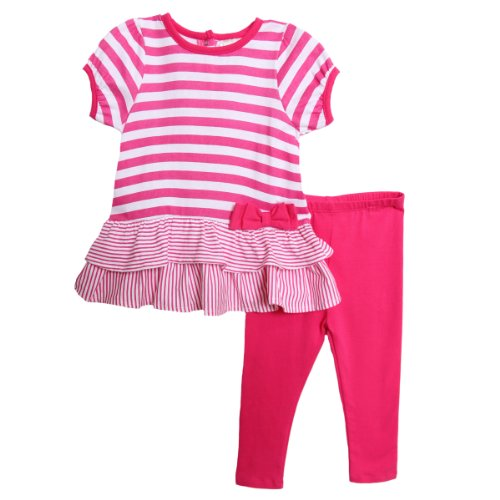 Absorba Infant Baby Girls 2 Piece Pink Striped Ruffle Top Leggings Summer Set front-957896