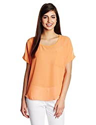 KIMYRA Women's Body Blouse Shirt (1314171167570_Saffron_Medium)