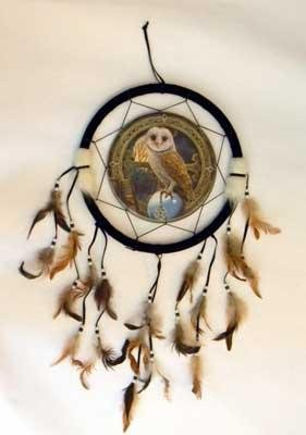 Azure Green RD496 Owl Dream Catcher