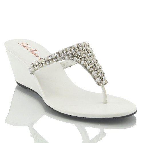 Essex Glam Sandalo Donna Bianco Infradito Scintillante Elegante Finto Diamante con Tacco a Cuneo EU 38