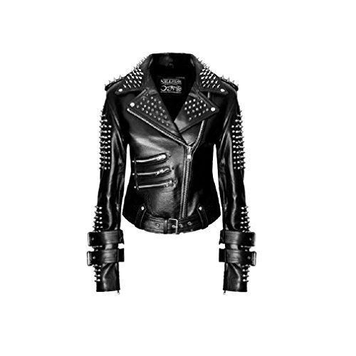 Kill Star donna giacca in pelle giacca moto nera con borchie e Spikes - Metal Spikes Leather Jacket With Studs nero nero L