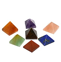 Healing Crystals India 20-25 mm Natural Gemstone Pyramid Aura Balancing Reiki Energy Charged Free eBook about Crystals Healing (Chakra Stone)