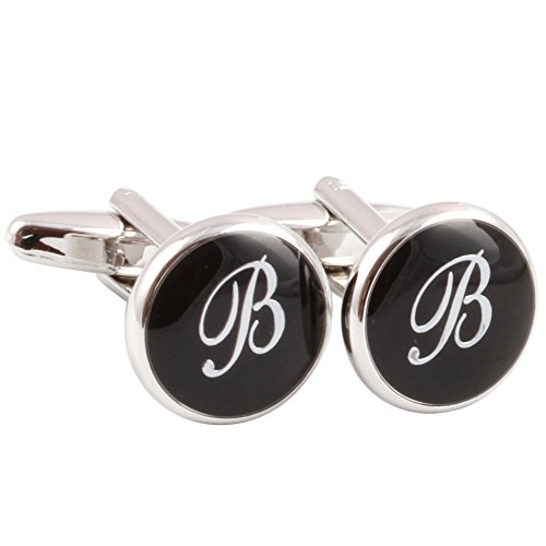 HJ Men's 2PCS Rhodium Plated Cufflinks Silver Initial Letter Shirt Wedding Business 1 Pair Set Black B