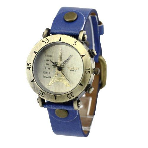 WLM Women Ladies Girls Blue Band Classic Eiffel Tower Design Leatheroid Made Quartz Wrist Watch Watches Clock