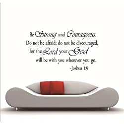 MZY LLC TM Be Strong and Courageous Vinyl Art quotes Joshua 1 9 religious wall stickers Decal Home Decor