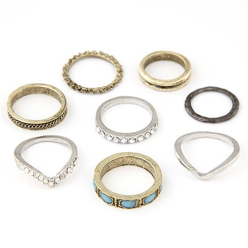 Cinderella Collection By Shining Diva Golden & Silver Metal Cz Set Of 8 Finger Rings For Women