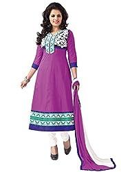 Soru Fashion Women's Cotton Dress Material (Shiv-1112_Purple _Free Size)