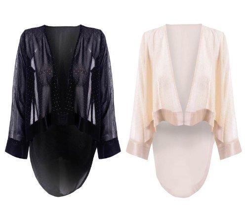hiddenfashion veste bol ro femme court dos long ouvert devant cascade clout manche longue. Black Bedroom Furniture Sets. Home Design Ideas