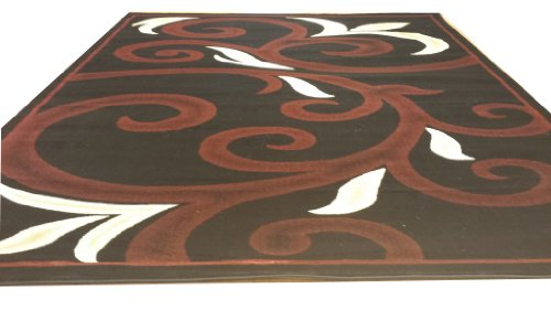 D612 Contemporary Modern Transitional Branch Leaves Design Black Red 5x8 Actual Size 5'3x7'2 Rug
