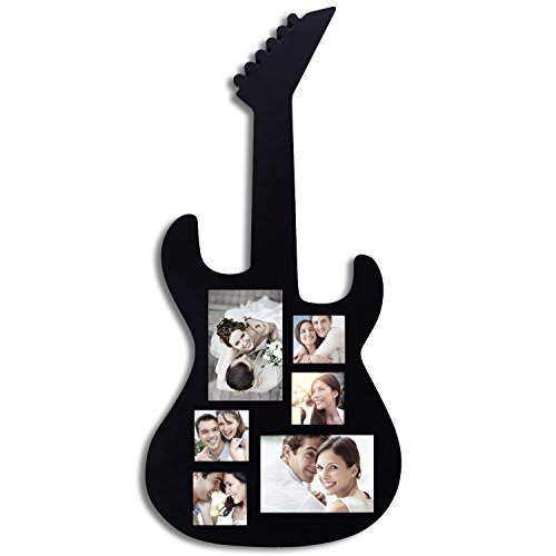 Adeco [PF0349] Black Wood Guitar Collage Picture Photo Frame; 6 Openings, 3x3 inches, 4x6 inches