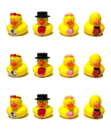 Lot Of (12) Valentine Sweetheart Rubber Ducks