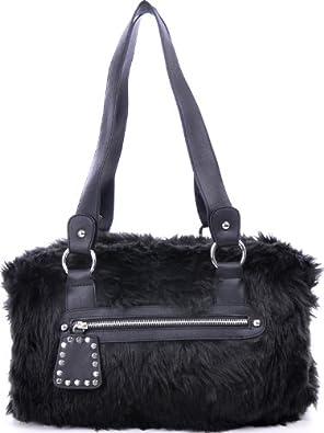 ARA BAGS, ara, Damen, Handtaschen, Shopper, Schultertaschen, Fell, Schwarz, 37x24x9cm (B x H x T)