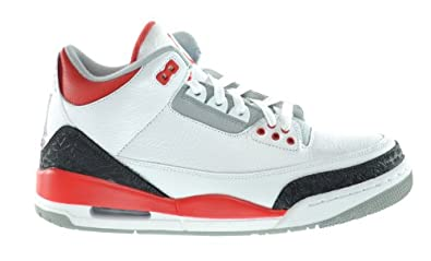 Buy Air Jordan 3 Retro Mens Sneakers White Fire Red-Silver-Black by Jordan