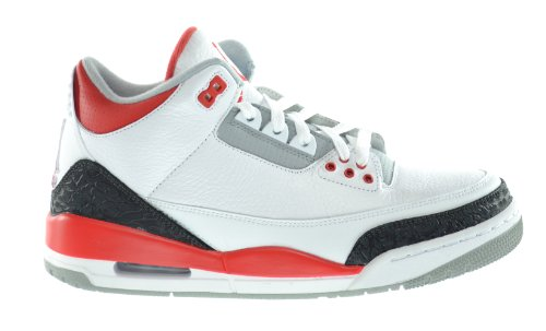 Air Jordan 3 Retro Men's Sneakers White/Fire Red-Silver-Black 136064-120-13 (Grape Retro 13 Jordan Shoes compare prices)