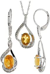 14k White Gold Dangle Earrings (19mm tall) & 18 in. Pendant-Necklace Set, w/ 0.20 Carat Brilliant Cut Diamonds & 3.64 Carats Oval Cut (7x5mm) Citrine Stones