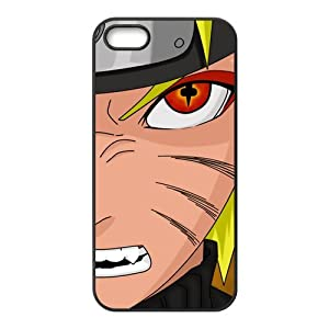 Naruto - Japanese Anime Cartoon Black Case Plastic Cover for iPhone 5S, Uzumaki Naruto Face Kubi Evil Fox Eye Shell Skin