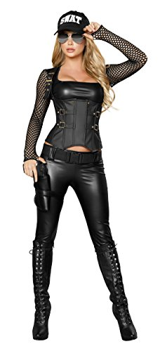 Sexy Women's 5pc Sexy SWAT Agent Cop Costume (L) (Swat Agent Sexy Costume)