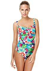 Twisted Front Floral Ruched Swimsuit