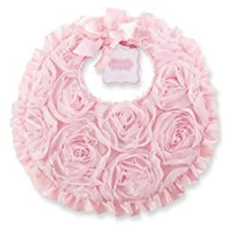 NEW*Mud Pie Pretty in Pink Chiffon Rosette Bib Baby Girls Size 11x10