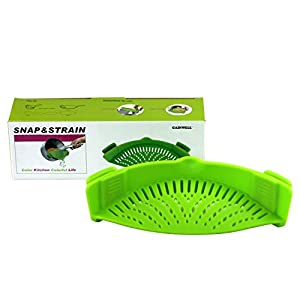 GAINWELL SNAP AND STRAIN PAN STRAINER - Clip-on Silicone Strainer for Draining Food While Cooking - Fits 16cm to 30cm Pans or Pots - Removes the Need for Large Colanders