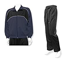 Men\'s casual warm up jacket/pant set - size Adult XL - color Navy Jacket/Black Pants