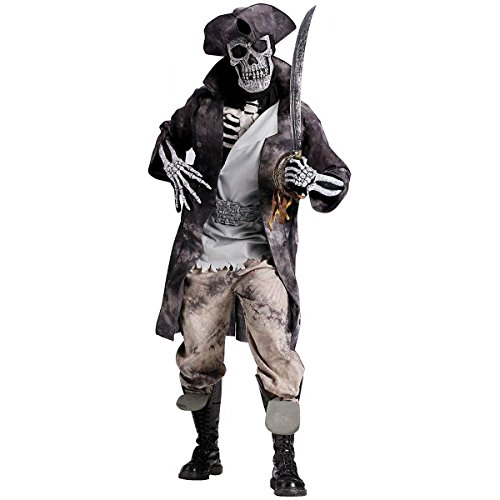 [GSG Ghost Pirate Costume Adult Skeleton Halloween Fancy Dress] (Cabaret Costumes For Men)