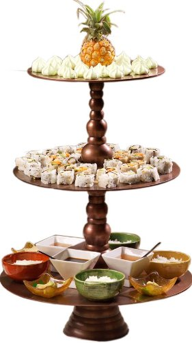 Shastra 18-Inch Diameter Copper 3-Tier Serving Tray