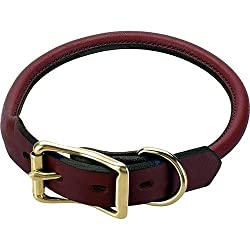 Mendota Rolled English Bridle Leather Collar (Size=20)