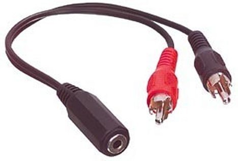 3.5mm Stereo Socket to 2 x RCA/Phono Plugs 0.2M Cable