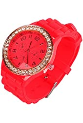 OFTEN® Ladies Women Girl Silicone Quartz Crystal Stone Jelly Wrist Watch