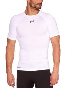 Under Armour Herren Shirt Heatgear Sonic Compression Short Sleeve T, White/Black, M (MD), 1236224-100