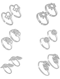 Stunning Special Combo Of 6 Pair Floral And Heart 925 Silver Toe Rings For Girls/Women