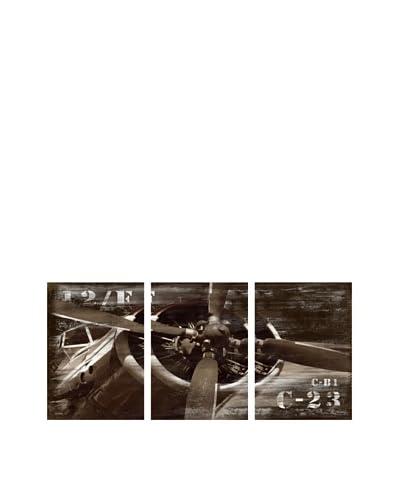 Vintage Airplane Giclée Triptych Canvas