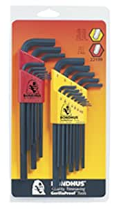 Bondhus 22199 Hex L-wrench Double Pack, Long Length, 12137 (.050-3/8-Inch) & 12199 (1.5-10mm)