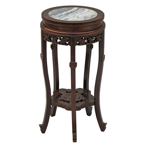 Tall Round Marble Inlay End Table
