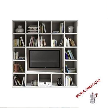 TABLES&CHAIRS libreria bianco legno frassinato parete attrezzata sala 570 218x30x218