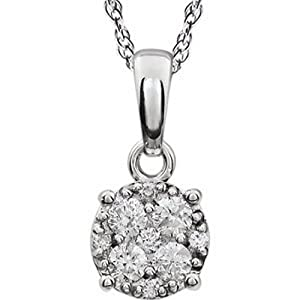 IceCarats Designer Jewelry 14K White Gold 14K White 3/8 Ctw Diamond Cluster 18 Necklace 18.00 Inch
